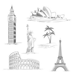 Sketch wof world sights vector