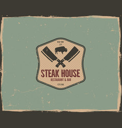 Steak house logo design bar and grill logotype vector