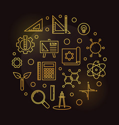 stem concept golden round outline vector image
