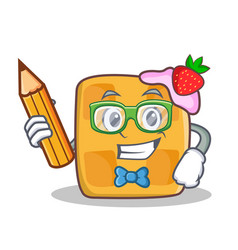 Student waffle character cartoon design with vector