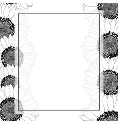 sunflower banner card border outline vector image