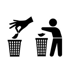 Tidy man or do not litter symbols keep clean and vector