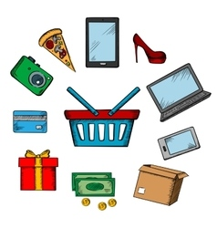 Trading and online shopping icons vector image