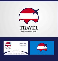 Travel austria flag logo and visiting card design vector