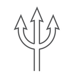 trident thin line icon spear and devil pitchfork vector image