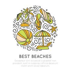 tropical summer beach icon concept ball umbrella vector image