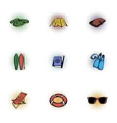 Vacation icons set pop-art style vector