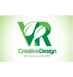 vr green leaf letter design logo eco bio leaf vector image