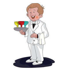 Waiter with drinks on tray vector