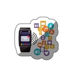 Watch social media and multimedia icon set design vector image