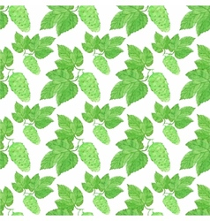 Watercolor seamless pattern with hops on the white vector image