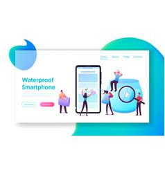 waterproof smartphone landing page template tiny vector image
