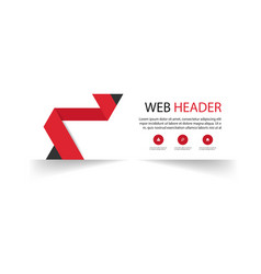 web header template red ribbon background i vector image