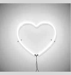 white neon light heart icon on grey background vector image