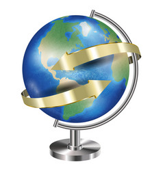world earth planet globe with gold arrow around vector image