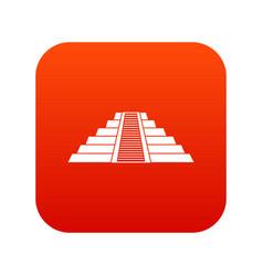 Ziggurat in chichen itza icon digital red vector