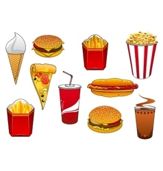 Fast food with meal and drinks vector image vector image