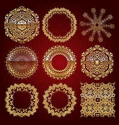 Gold mandala set red version vector