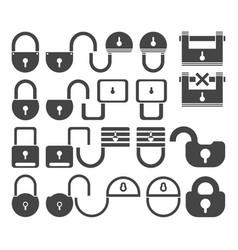 lock icon set symbol vector image vector image