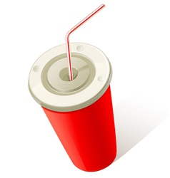red cold drink cup vector image
