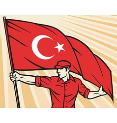 Worker Holding a Turkey Flag vector image vector image