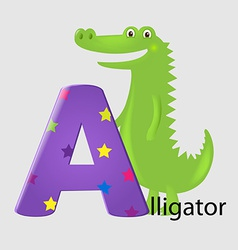 Alligator with letter a vector