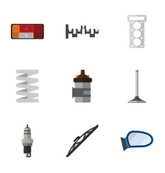 flat icon component set of absorber spare parts vector image vector image