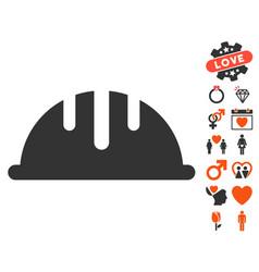 helmet icon with valentine bonus vector image