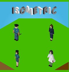 Isometric person set of businesswoman officer vector