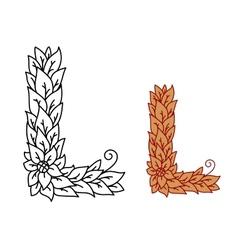 Leaf design uppercase letter L vector image