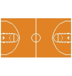 pixel art basketball sport court layout retro 8 vector image