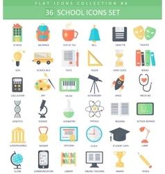 school color flat icon set Elegant style vector image