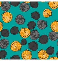 Seamless pattern funny cats isolated on turquoise vector image vector image