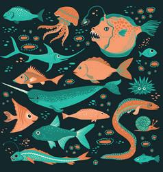set of handdrawn underwater creatures vector image
