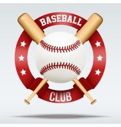 Baseball ball and wooden bats with ribbons vector image