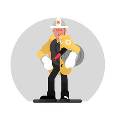 fireman standing with fire hose vector image