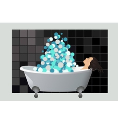 Girl in a foam bath vector image vector image
