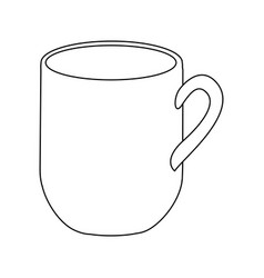 monochrome contour with mug of coffee close up vector image vector image