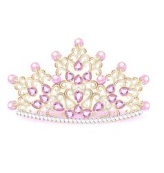 pink diadem feminine crown with jewels vector image vector image