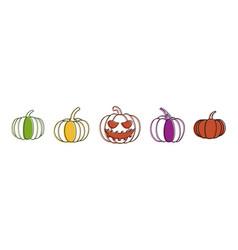 pumpkin icon set color outline style vector image