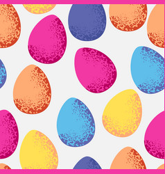 seamless pattern of colorful easter eggs on white vector image vector image