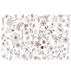 Set of black and white doodle flowers leaves Hand vector image