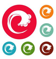 wave water drop icons circle set vector image