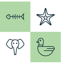 zoo icons set collection of trunked animal vector image