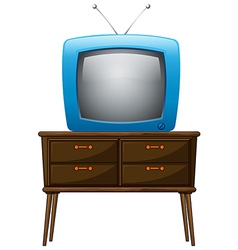 A television above the wooden table vector