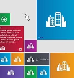 Buildings icon sign buttons Modern interface vector image