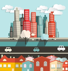 City - Houses with Highway and Skyscrapers vector image vector image