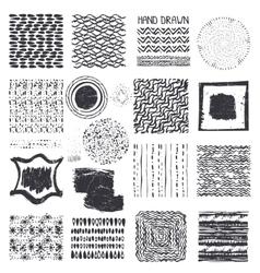 Creative Hand Drawn ink textures setBlack vector image