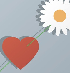 Heart and flower by St Valentines Day vector image vector image