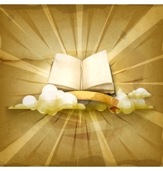 Open book old style background vector image vector image